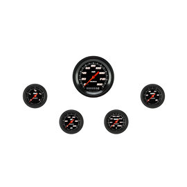 "Classic Instruments 5 Gauge Set - 3 3/8"" Speedo, 2 1/8"" Full Sweep FOTV - Velocity Black Series"