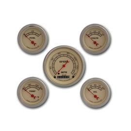 "Classic Instruments 5 Gauge Set - 3 3/8"" Speedo, 2 1/8"" Short Sweep FOTV - Vintage Series - VT00SLF"