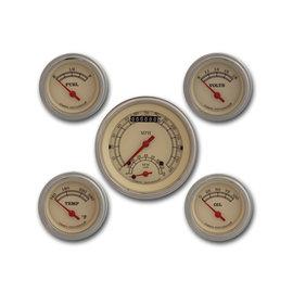 "Classic Instruments 5 Gauge Set - 3 3/8"" Ultimate Speedo, 2 1/8"" Short Sweep FOTV - Vintage Series -VT35SLF"