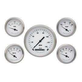 "Classic Instruments 5 Gauge Set - 3 3/8"" Speedo, 2 1/8"" Short Sweep FOTV - White Hot Series"