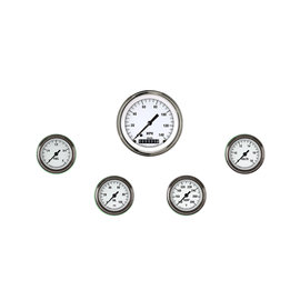 "Classic Instruments 5 Gauge Set - 3 3/8"" Speedo, 2 1/8"" Full Sweep FOTV - White Hot Series"