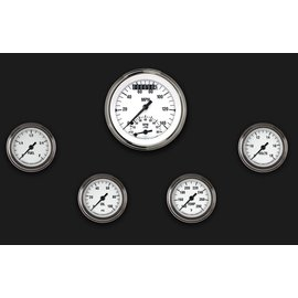 "Classic Instruments 5 Gauge Set - 3 3/8"" Ultimate Speedo, 2 1/8"" Full Sweep FOTV - White Hot Series - WH135SLF"