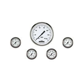 "Classic Instruments 5 Gauge Set - 4 5/8"" Speedo, 2 1/8"" Full Sweep FOTV - White Hot Series"