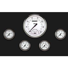 "Classic Instruments 5 Gauge Set - 4 5/8"" Speedtachular, 2 1/8"" Full Sweep FOTV - White Hot Series - WH165SLF"