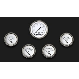 "Classic Instruments 5 Gauge Set - 3 3/8"" Speedo, 2 5/8"" Short Sweep FOTV - White Hot Series"