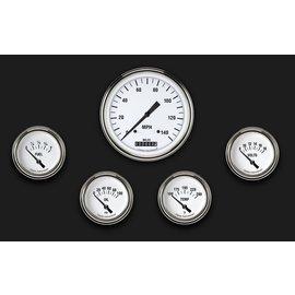 "Classic Instruments 5 Gauge Set - 4 5/8"" Speedo, 2 5/8"" Short Sweep FOTV - White Hot Series"