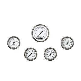 "Classic Instruments 5 Gauge Set - 3 3/8"" Speedo, 2 5/8"" Full Sweep FOTV - White Hot Series"