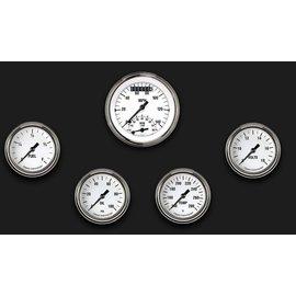 "Classic Instruments 5 Gauge Set - 3 3/8"" Ultimate Speedo, 2 5/8"" Full Sweep FOTV - White Hot Series - WH335SLF"