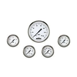 "Classic Instruments 5 Gauge Set - 4 5/8"" Speedo, 2 5/8"" Full Sweep FOTV - White Hot Series"