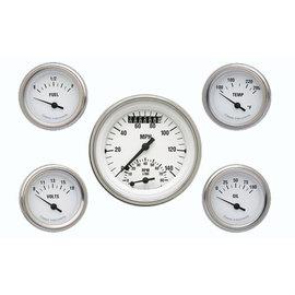 "Classic Instruments 5 Gauge Set - 3 3/8"" Ultimate Speedo, 2 1/8"" Short Sweep FOTV - White Hot Series - WH35SLF"