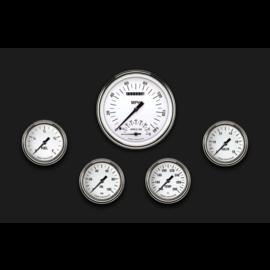 "Classic Instruments 5 Gauge Set - 4 5/8"" Speedtachular, 2 5/8"" Full Sweep FOTV - White Hot Series - WH365SLF"