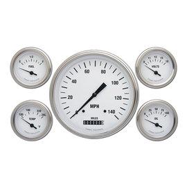 "Classic Instruments 5 Gauge Set - 4 5/8"" Speedo, 2 1/8"" Short Sweep FOTV - White Hot Series"