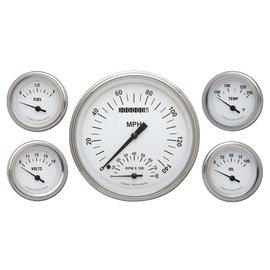 "Classic Instruments 5 Gauge Set - 4 5/8"" Speedtachular, 2 1/8"" Short Sweep FOTV - White Hot Series - WH65SLF"