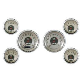 "Classic Instruments 6 Gauge Set - 3 3/8"" Speedo & Tach, 2 1/8"" Short Sweep FOTV - All American Nickel Series - AN01SHC"
