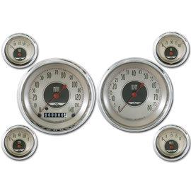 "Classic Instruments 6 Gauge Set - 4 5/8"" Speedo & Tach, 2 1/8"" Short Sweep FOTV - All American Nickel Series - AN51SLC"