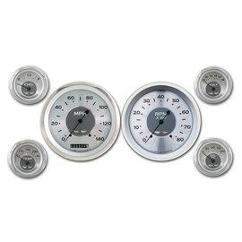 "Classic Instruments 6 Gauge Set - 4 5/8"" Speedo & Tach, 2 1/8"" Short Sweep FOTV - All American Series - AW51SRC"