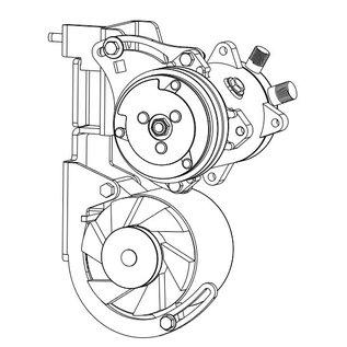 Vintage Air 223 6-Cylinder Compressor/Alternator Bracket with Crankshaft Pulley - 131138