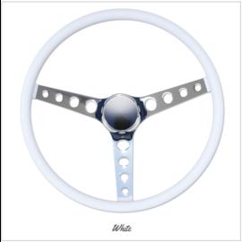 """Mooneyes MOONEYES ORIGINAL """"Finger Grip"""" Steering Wheel 15"""" White (Vinyl Grip)"""