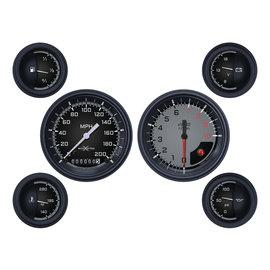 "Classic Instruments 6 Gauge Set - 3 3/8"" Speedo & Tach, 2 1/8"" Short Sweep FOTV - Auto Cross Gray Series"