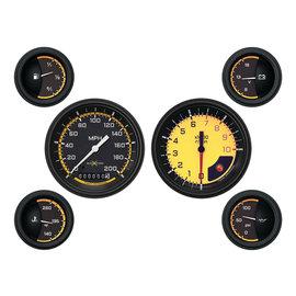 "Classic Instruments 6 Gauge Set - 3 3/8"" Speedo & Tach, 2 1/8"" Short Sweep FOTV - Auto Cross Yellow Series"