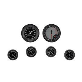 "Classic Instruments 6 Gauge Set - 3 3/8"" Speedo & Tach, 2 1/8"" Full Sweep FOTV - Auto Cross Gray Series"