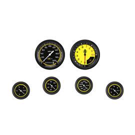 "Classic Instruments 6 Gauge Set - 3 3/8"" Speedo & Tach, 2 1/8"" Full Sweep FOTV - Auto Cross Yellow Series"
