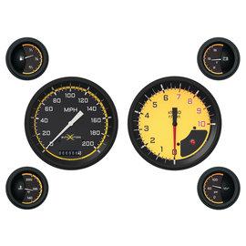 "Classic Instruments 6 Gauge Set - 4 5/8"" Speedo & Tach, 2 1/8"" Short Sweep FOTV - Auto Cross Yellow Series - AX51YBLF"