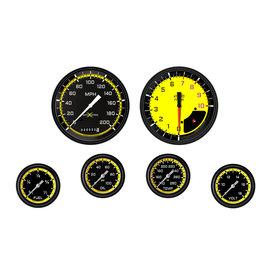 "Classic Instruments 6 Gauge Set - 4 5/8"" Speedo & Tach, 2 5/8"" Full Sweep FOTV - Auto Cross Yellow Series"