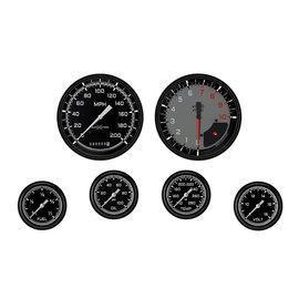 "Classic Instruments 6 Gauge Set - 4 5/8"" Speedo & Tach, 2 5/8"" Full Sweep FOTV - Auto Cross Gray Series"