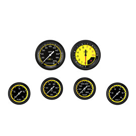 "Classic Instruments 6 Gauge Set - 3 3/8"" Speedo & Tach, 2 5/8"" Full Sweep FOTV - Auto Cross Yellow Series"