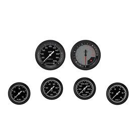 "Classic Instruments 6 Gauge Set - 3 3/8"" Speedo & Tach, 2 5/8"" Full Sweep FOTV - Auto Cross Gray Series"