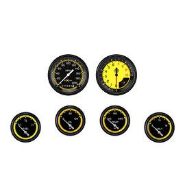 "Classic Instruments 6 Gauge Set - 3 3/8"" Speedo & Tach, 2 5/8"" Short Sweep FOTV - Auto Cross Yellow Series"