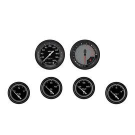 "Classic Instruments 6 Gauge Set - 3 3/8"" Speedo & Tach, 2 5/8"" Short Sweep FOTV - Auto Cross Gray Series"