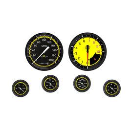 "Classic Instruments 6 Gauge Set - 4 5/8"" Speedo & Tach, 2 1/8"" Full Sweep FOTV - Auto Cross Yellow Series"