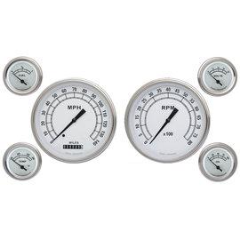 "Classic Instruments 6 Gauge Set - 4 5/8"" Speedo & Tach, 2 1/8"" Short Sweep FOTV - Classic White Series - CW51SLF"