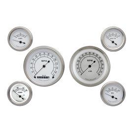 "Classic Instruments 6 Gauge Set - 3 3/8"" Speedo & Tach, 2 1/8"" Short Sweep FOTV - Classic White Series - CW01SLF"