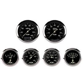 "Classic Instruments 6 Gauge Set - 3 3/8"" Speedo & Tach, 2 5/8""  FOTV - Classic Series - CL901SRC"