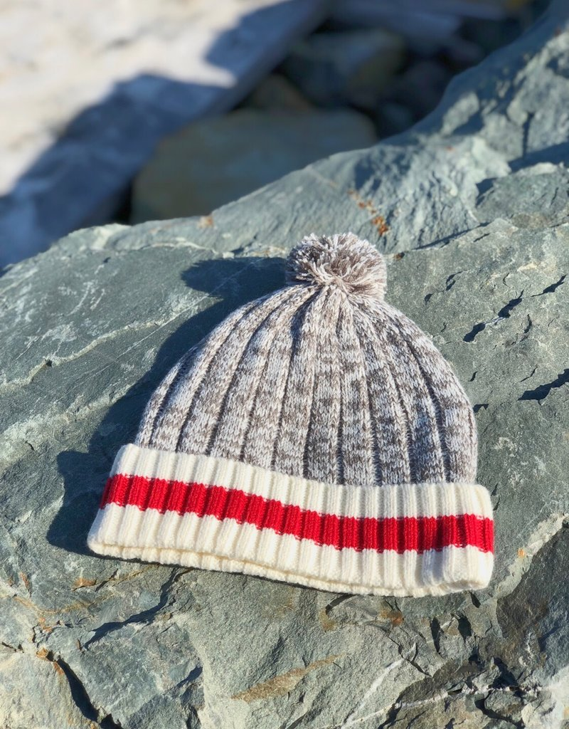 Grey Knit Beanie With Red Band