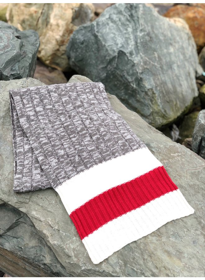 Grey Knit Scarf with Red Band