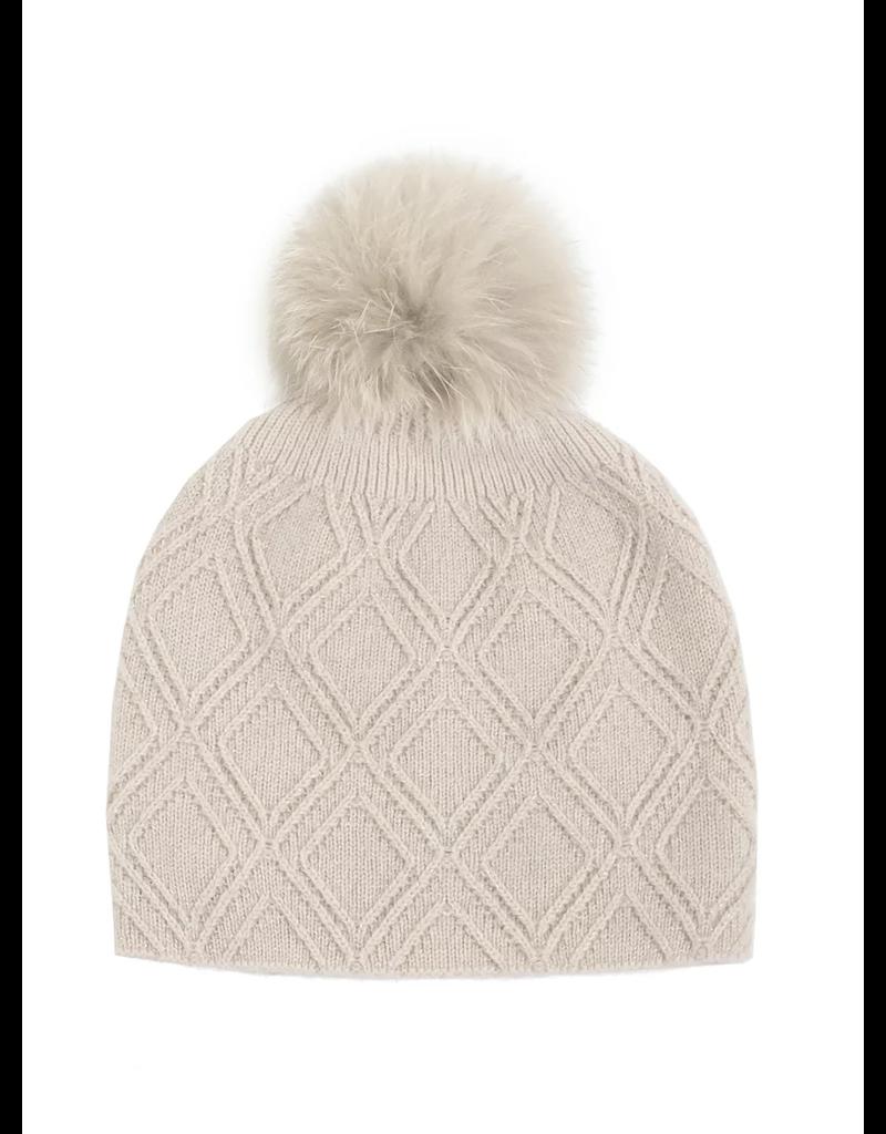 Metallic Knit Hat w/Fox Pom