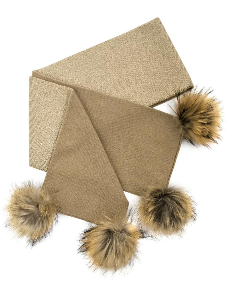Wool Knit Scarf Fox Trim