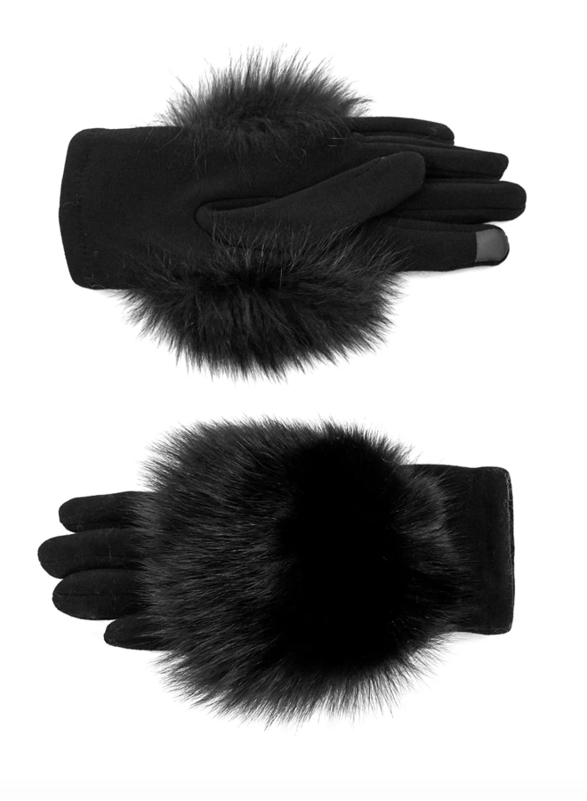 Fleece Gloves w/Fox Trim