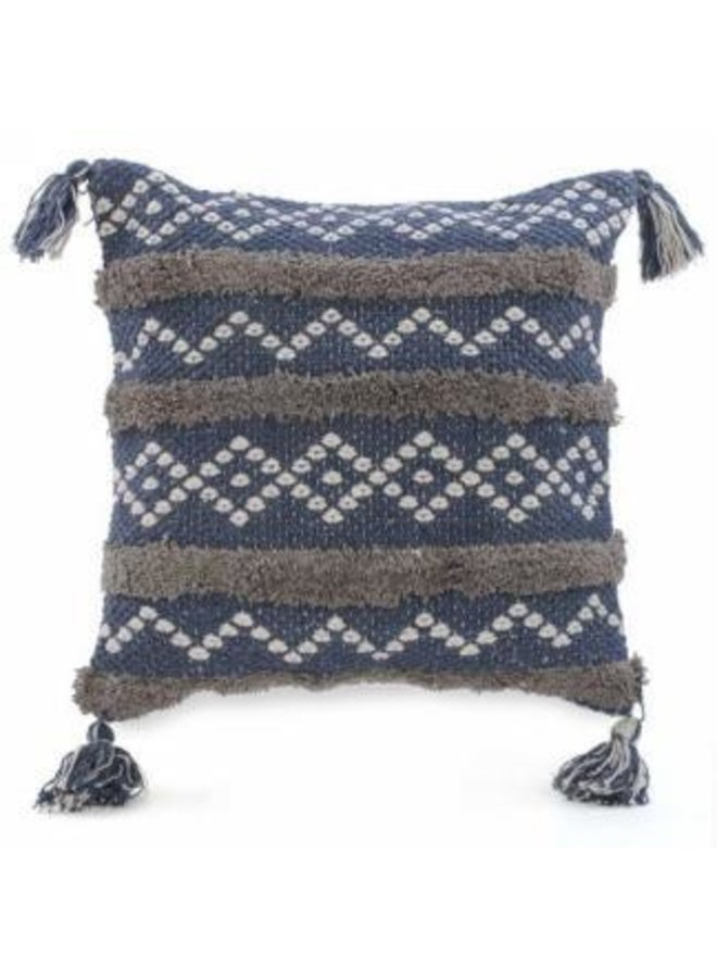 Blue & Taupe Cushion w/Tassel