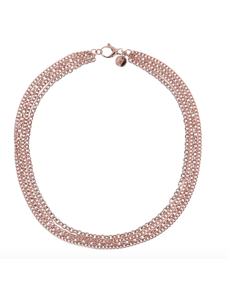 Rose Gold Multistrand Chain Necklace