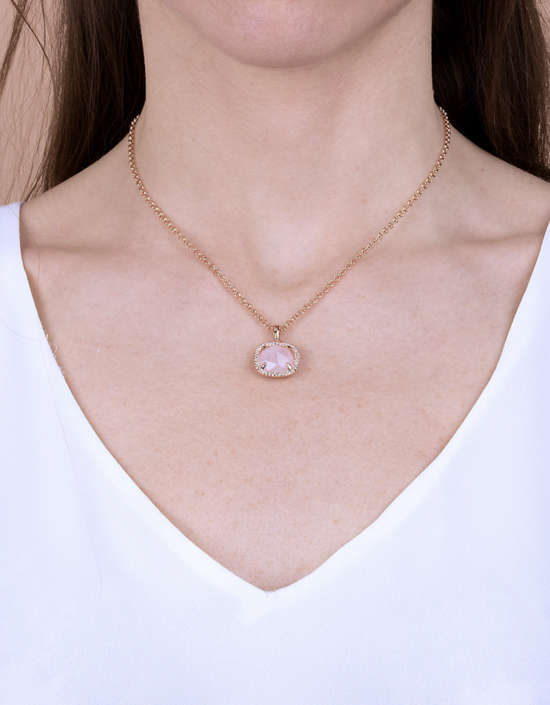Rose Gold Cushion Rose Quartz Necklace