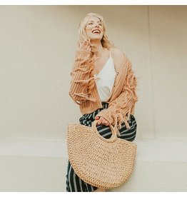 Sandy Light Beige Straw Tote