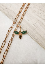 Bee Charm Rose Gold Green