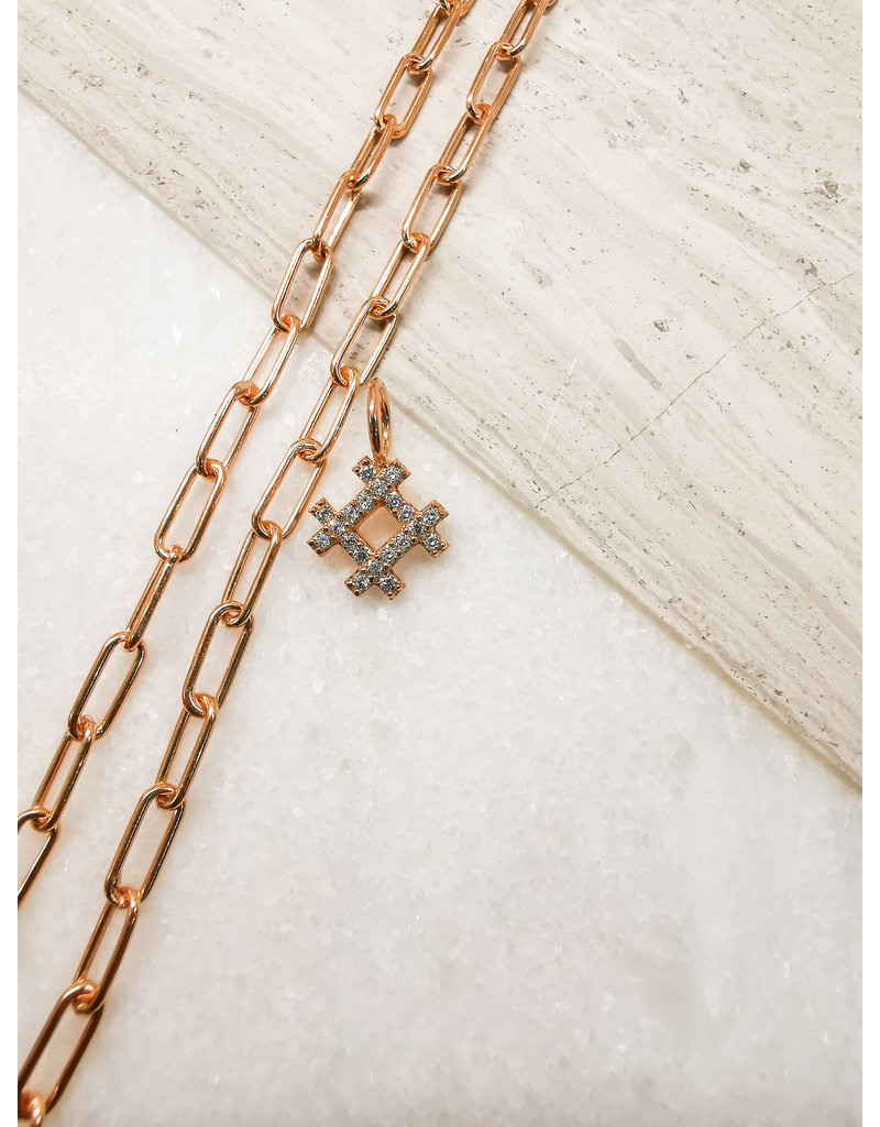 Hashtag Charm Rose Gold Clear