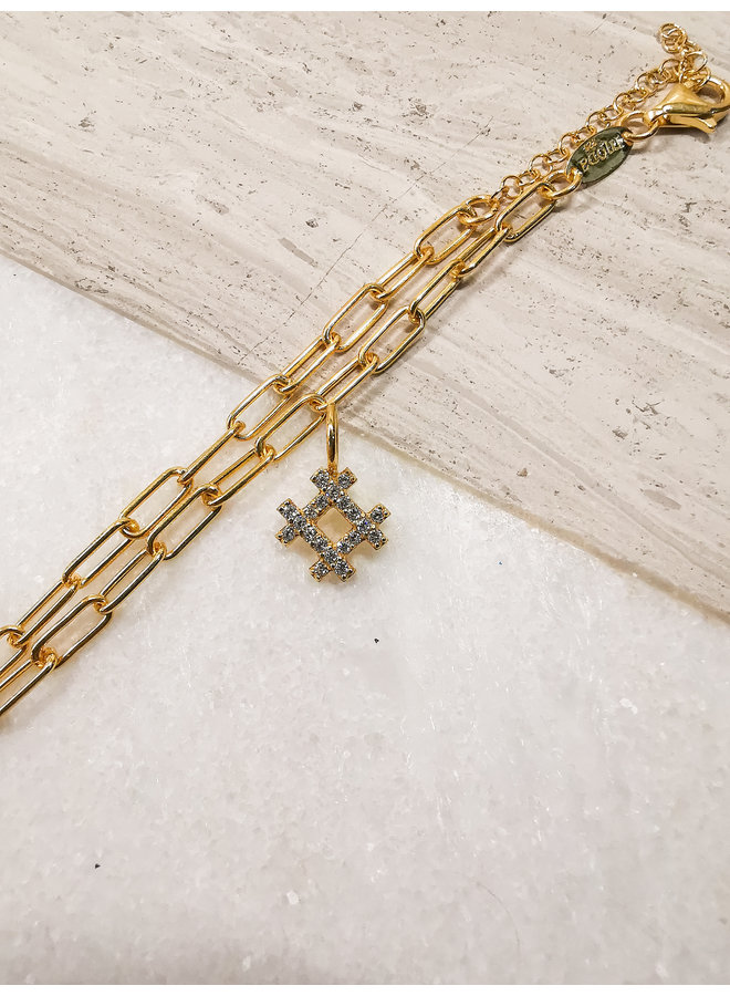 Hashtag Charm Yellow Gold Clear