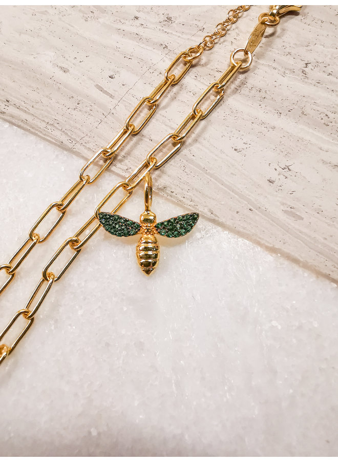 Bee Charm Yellow Gold Green